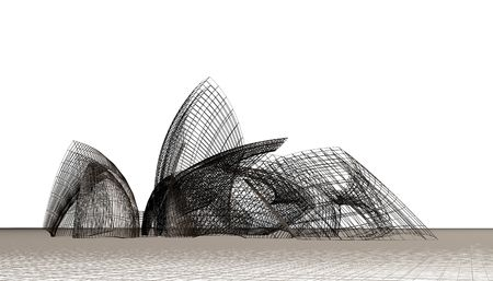casing: Architectural abstract 3d model, contemporary dynamical form
