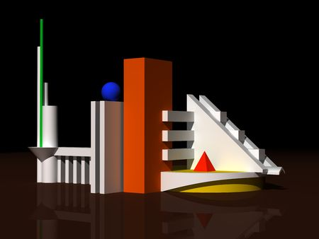 square composition: Architectural abstract 3d model