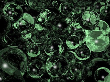 reverberate: Green abstract background. Reflection balls Stock Photo