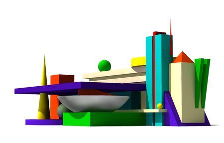 Edificio composici�n abstracta de modelo 3d. White aislado Foto de archivo - 5471545