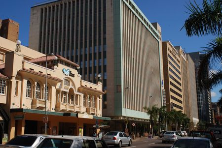 contemporaneous: Typical street of central Durban. South Africa.  Stock Photo