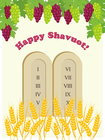 Greeting card for Jewish holiday of Shavuot with tablets of stone, bunch of grapes and wheat ears Çizim