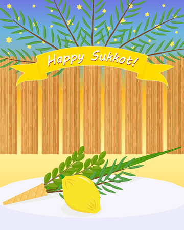 Greeting card with four species, etrog, lulav, hadass, aravah - symbols of Jewish holiday Sukkot on table and date palm branches