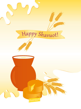 Jewish holiday of Shavuot, greeting card with milk jug, cheese and inscription Happy Shavuot Vectores