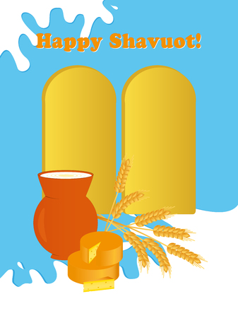 Greeting card for Jewish holiday of Shavuot with tablets of stone, milk jug, wheat ears and cheese, greeting inscription Happy Shavuot on blue background