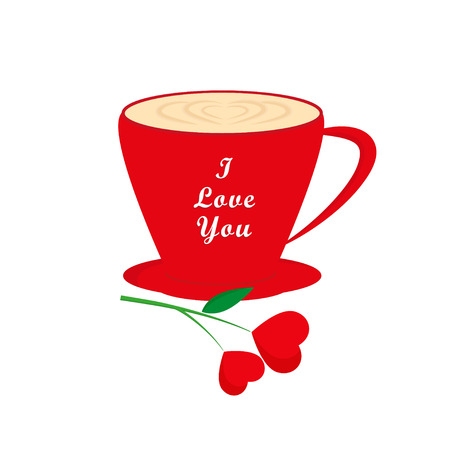 Red coffee cup heart with flower red hearts, Valentines day greeting card, greeting inscription - I Love You
