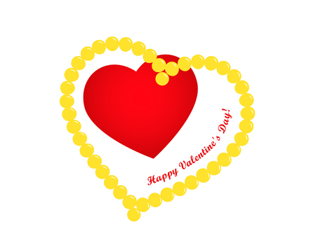 Valentines day greeting card, red heart in heart of beads and greeting inscription on white background, Happy Valentines Day