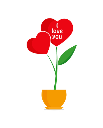 Valentines day greeting card, flower with red hearts in flowerpot, greeting inscription - I Love You