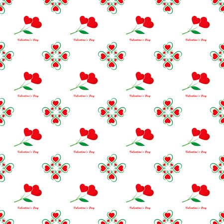 Floral seamless pattern with red heart flowers and Valentines Day inscription.