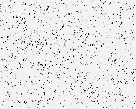 Grunge chaotic background, Abstract black spots and dots on light gray background, random specks background for design. Vector illustration Çizim