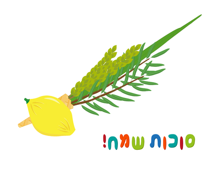 Four species, etrog, lulav, hadass and aravah - symbols of Jewish holiday Sukkot, isolated on white background, greeting inscription hebrew - Happy Sukkot Ilustração