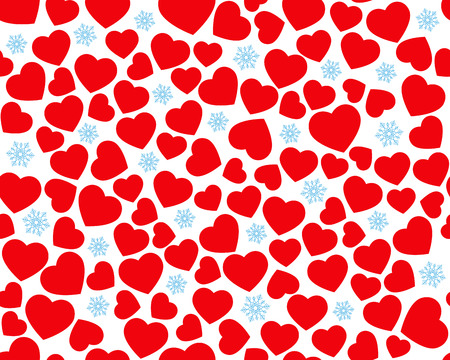 Hearts seamless pattern, red hearts and blue snowflakes on white background, seamless pattern for Valentines day Çizim