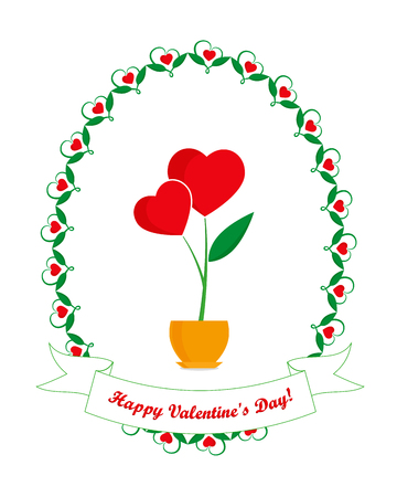 Valentines day greeting card, flower with red hearts in flowerpot and greeting inscription in floral oval frame on white background, Happy Valentines Day Illustration