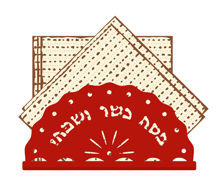 Jewish holiday of Passover, matzah or matzo, unleavened bread for Pesah, greeting inscription in hebrew - Happy and Kosher Passover Illustration