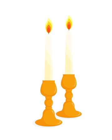 Two candlesticks with burning candles, isolated illustration on white background