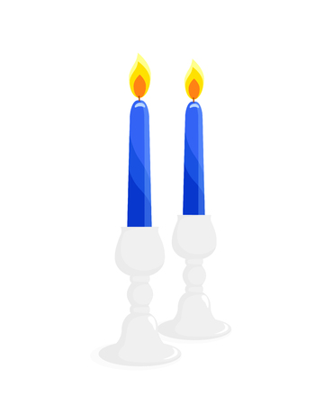 Two candlesticks with burning blue candles, isolated illustration on white background
