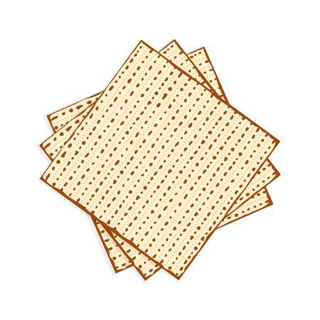 Passover matzah, unleavened bread vector illustration