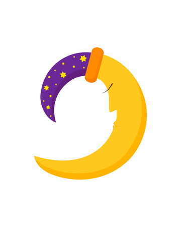 Sleeping moon, fairytale crescent moon in nightcap with stars in cartoon style, isolated on white background