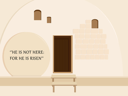 Holiday of Easter, Resurrection of Jesus Christ, Empty Stone Tomb, Garden Tomb in Jerusalem, Israel, quotation from the Bible: He is not here: for he is risen.