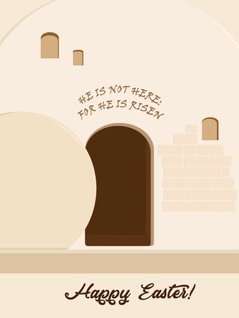 Holiday of Easter, Resurrection of Jesus Christ, Empty Stone Tomb, Garden Tomb in Jerusalem, Israel, quotation from the Bible: He is not here: for he is risen, greeting inscription - Happy Easter