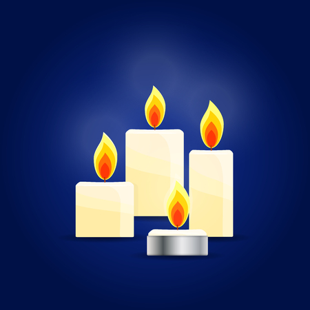 Four Burning candles on dark blue background, memorial candles. Vector Illustration