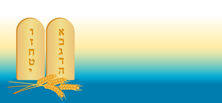 Jewish holiday of Shavuot, Tablets of Stone and wheat ears, banner with space for text on colorful gradient background