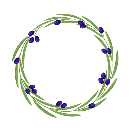 Round frame of branch of olive with black olive fruits and green leaves, isolated on white background with space for text. Banque d'images - 100427581