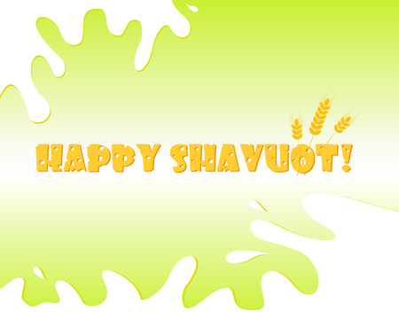 Jewish holiday of Shavuot, greeting card with wheat ears and cheese greeting inscription Happy Shavuot
