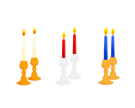 Candlestick set, pair of candlesticks, two candlesticks with burning candles, isolated on white background