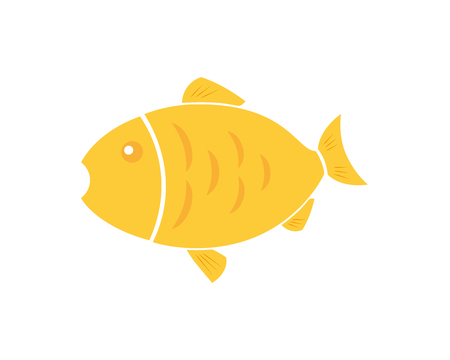 Golden fish icon, animal icon, cartoon fish, design element isolated on white background. Vector illustration Illusztráció