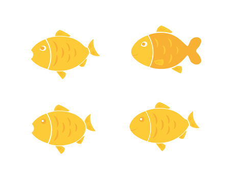 Golden fish icon, fishes set, animal icon, cartoon fish, design element isolated on white background. Vector illustration Illusztráció