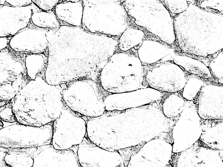 Stones background, large stones, boulders in the masonry, part of stone fence, close-up of stone border. Black and white raster illustration
