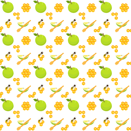 Honey seamless pattern with apples, honeycomb, honey dippers, bees and apple slices, holiday symbols, Harvest festival, Honey festival, holiday of Rosh Hashanah