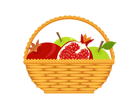 Apples and pomegranates in wicker basket, isolated on white background, design element