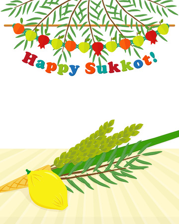 Greeting card with four species, etrog, lulav, hadass, aravah - symbols of Jewish holiday Sukkot, date palm branches with fruits garland and greeting inscription
