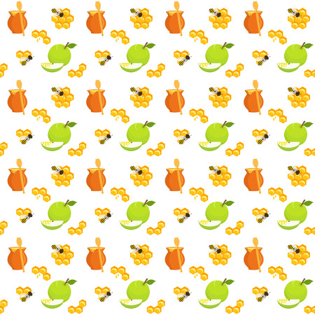 Seamless pattern with honey pots and honey dippers, apples and apple slices, honeycomb and bees, holiday symbols, Harvest festival, Honey festival, holiday of Rosh Hashanah Illustration