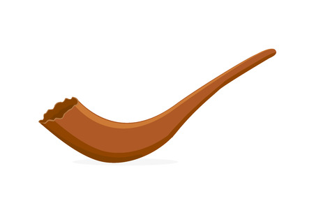 Shofar, the ancient musical horn for the Jewish holidays, the symbol of Hashanah and Yom Kippur, musical instrument, horn of ram isolated on white background, Illustration