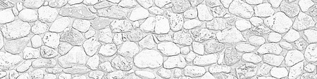 Stone wall texture background, panorama of stone wall, masonry background. Black and white raster illustration Imagens