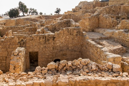 Excavations at the archaeological site, ruins of ancient fortress, Tomb of prophet Samuel near Jerusalem in Israel