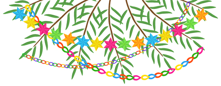 Greeting banner with branches of date palm, garlands and stars, design element for Jewish holiday of Sukkot, copy space, Happy Sukkot