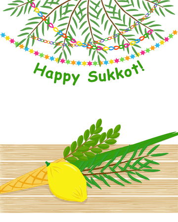 Four species, etrog, lulav, hadass and aravah, symbols of Jewish holiday Sukkot on wooden table, date palm branches with garlands, greeting inscription