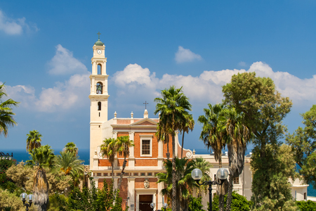 View of the St. Peters Church, bell tower and facade of the Saint Peter Church, Franciscan church in Old Jaffa in Tel Aviv Yaffo, Israel