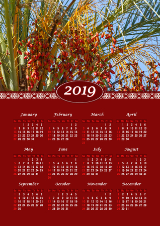 Yearly wall calendar, 2019 year of the year with a single page calendar, A3 size. Date palm with ripe date fruits 스톡 콘텐츠