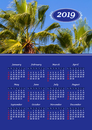 Yearly wall calendar, 2019 year of the year with a single page calendar, A3 size. Palm trees against a blue sky