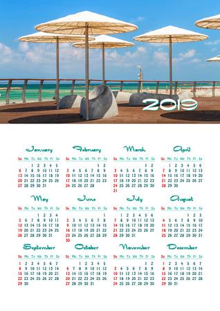 Yearly wall calendar, 2019 Beach umbrellas at the promenade in Tel Aviv, Israel