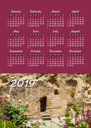 Yearly wall calendar, 2019 year of the year with a single page calendar, A3 size. Garden Tomb in Jerusalem, Israel