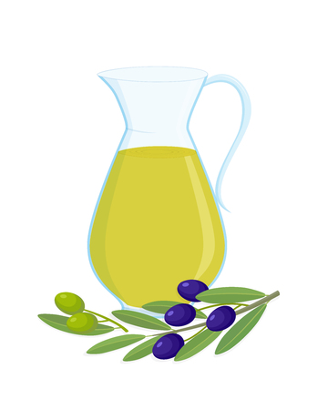 Jug of olive oil and olive branches