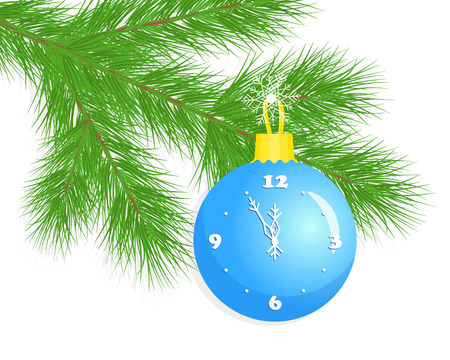 Christmas ball clock on a fir tree branch 스톡 콘텐츠
