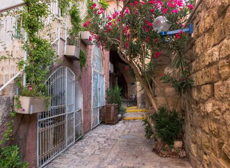 Ancient stone street, narrow street in Old Jaffa, ancient port city, oldest part of Tel Aviv-Yafo, Israel