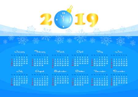 Happy New Year, wall calendar for 2019 year, single page with gold numbers and Christmas ball clock. Vector illustration
